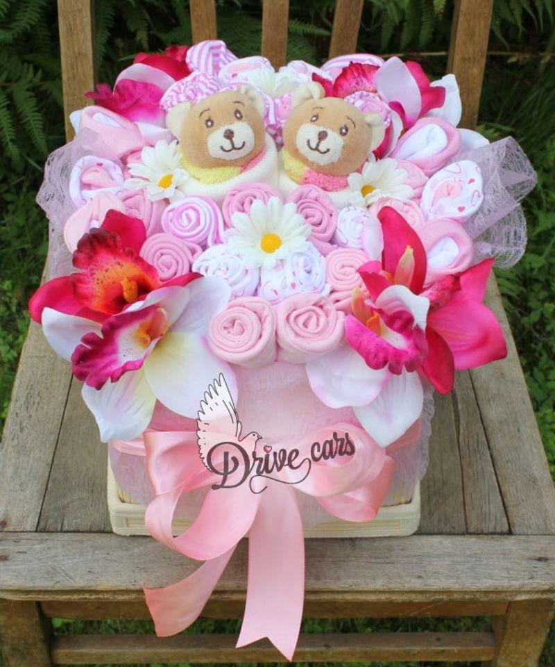 Бэби-букет подарок для новорожденного, кустовые